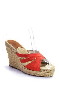 Stubbs & Wootton Womens Platform Wedge Heel Espadrilles Orange Canvas Size 39