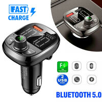 Bluetooth 5.0 FM Transmitter Quick QC3.0 Car USB Charger Adapter Radio Player