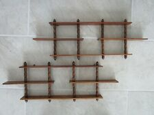 Set of 2 Vintage Wood Tiered Wall Shelves for Display