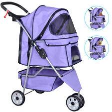 New listing Purple Pet Stroller Cat Dog Cage 3 Wheels Stroller Travel Folding Carrier