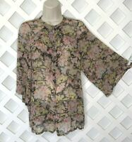 Joie Silk Floral Blouse Top Womens XS Ruffle Button Front 3/4 Flare Sleeve Sheer