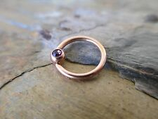 Purple CZ Rose Gold IP Steel Helix Lip Septum Tragus Captive Ring 16g 8mm 10mm