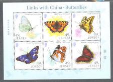 Jersey-Butterflies 2017 links with China  min sheet mnh