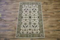 Hand-tufted Classic Floral Ivory/Sage Green Oushak Oriental 5x8 Wool Area Rug