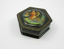 "Russian Hand Painted Lacquer Box Palekh - Emelya - 4"" in diameter"