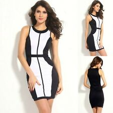 Sz 10 12 Black White Sleeveless Bodycon Club Cocktail Party Sexy Slim Mini Dress