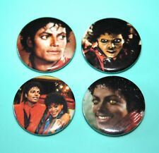 SET OF 4 MICHAEL JACKSON THRILLER 1980S STYLE BUTTON PIN BADGES