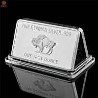 Bullion Germany Fine Silver .999 Mint 1 Troy Ounce Buffalo Europe Copy Coin Bar