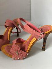 Stunning Playboy Pink Suede Sandals with Rainbow Heels, In Original Box, Size 4