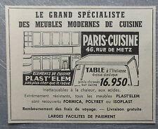 Publicité MEUBLES PARIS CUISINES FORMICA   TOULOUSE advert  1960
