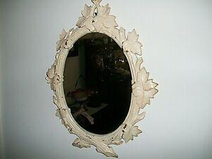 """Vintage Wall-Hanging Mirror/Frame w/Metal Garland / ~14"""" x ~12"""" /"""