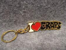 I Love Craps Key Chain Dice Gambling Gold Tone & Enamel Finish New NOS