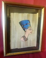 "HAND PAINTED EGYPTIAN ART ON PAPYRUS  FRAMED 11""x13"""