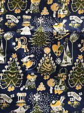 Moomin fabric piece Christmas Blue 100cm x 70cm  baby blankets etc.  Finland