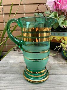 Art Deco Emarald Green Glass Jug