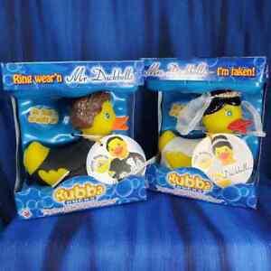 Mr. and Mrs. Duckbells Rubba Duck Rubber Duck Wedding NIB New!