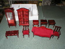 Miniature Wooden Dollhouse Doll House Furniture 9 PC Living Bed Room CHERRY