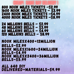 Nook Miles Tickets , Bells , All 640 DIY ⚡️ONLINE⚡️DELIVER ⚡️ FREE 1.80 GIFTS