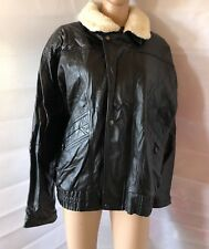 MENS CASUAL CLUB, SIZE LARGE, BLACK 100% LEATHER AVIATOR JACKET/COAT, PRE-LOVED