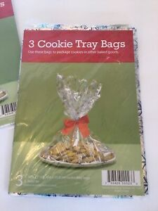 Christmas Cookie Tray Bags Twist Ties Gift Basket Party Snowflakes lot of 9