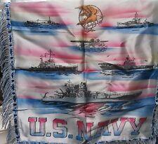 WW II U.S. Navy Silk Pillow Sham - Battleship, Destroyer, Aircraft Carrier & etc