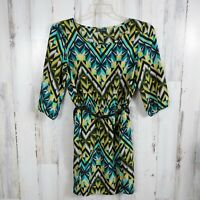 BeBop Geometric Belted Dress Women's Size Large 3/4 Sleeves Elastic Waist A-Line
