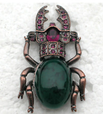NEW Scarab Egyptian Beetle Green Stone Purple Crystal Vintage Style Brooch Pin