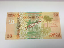 Cook Islands 20 Dollars 1992 Uncirculated Specimen Note w/ Turtle Watermark P-9s