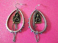 Lucky Brand Buddha With Turquoise Hoops Dangle Earrings