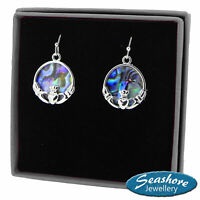 Celtic Claddagh Earrings Paua Abalone Shell Silver Fashion Jewellery 19mm Drop