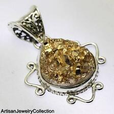 GOLDEN DRUZY PENDANT 925 STERLING SILVER ARTISAN JEWELRY COLLECTION Y216B