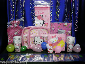 Hello Kitty Party Set # 15 Cups Plates Napkins Tablecover Topper Stickers Figure