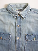 Guess Jeans Denim Shirt Men's Large Blue Washed Distressed Vintage LSHz824
