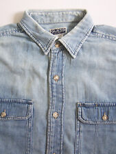 Guess Denim Shirt Men's Large Blue Washed Distressed Vintage LSHz824 #