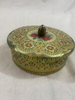 Vintage - Tin Floral Yellow Embossed Enamel Holland