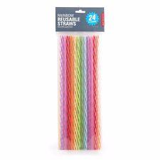 """Kikkerland Rainbow Reusable 11"""" Plastic Straws - Set of 24"""