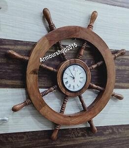 Boat Ship Captains Nautical Ship Wheel Porthole Wall Clock Watch Steering Wheel