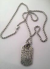 "David Yurman 18K Gold Sterling Silver Texture Dog Tag Pendant 20.50"" Necklace"