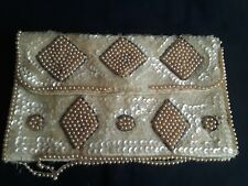 "vintage sequin pearl and jet evening clutch purse snap closure 7.25""X 4.5""oblong"