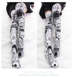 Anime Ahegao Printed Expression Stockings Lolita Japanese Women Overknee Socks