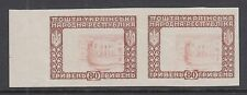 Ukraine Mi XII var MNG. 1920 80hr. imperf pair with Inverted Center, printed 2 s