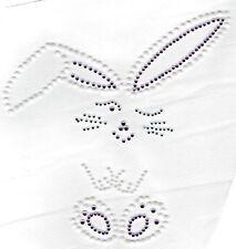 Bunny Rabbit Easter Rhinestone Pearl Stud Design Bling Hot Fix Iron On Transfer