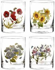 Portmeirion Botanic Garden double old fashioned tumbler floral glass set of 4