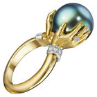 Fashion 18k Yellow Gold Plated Rings Women Jewelry Black Pearl Size 6-10