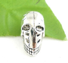 10 x GOTHIC SKULL, SILVER TONE BEADS  21 x 11mm UK SELLER - SAME DAY FREE  POST