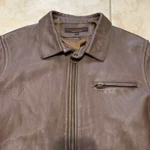 Adriano Goldschmied AG Brown Leather Full Leather Collar Jacket Mens Size Large