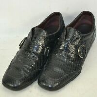 Tods Genuine Snake Skin Strap Sneakers Driving Shoes Womens Size 6.5 M US Black