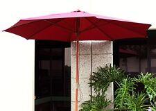 New 8' FT Outdoor Patio Market Beach Wooden Wood Umbrella Yard Shade-Burgundy