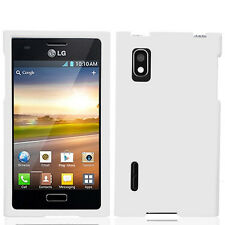 For LG Optimus Extreme L40G Rubberized HARD Case Snap On Phone Cover White