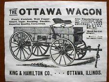 "(697) VINTAGE REPRINT ADVERT OTTAWA 1890 FARM WAGON KING & HAMILTON CO. 11""x14"""